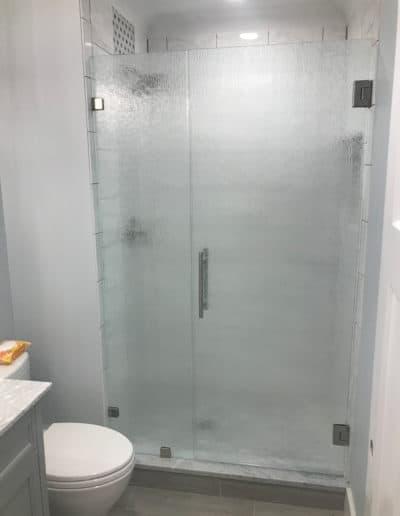 Patterned glass shower doors