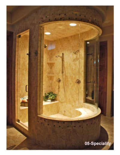 Custom rounded glass shower stall by Century Glass