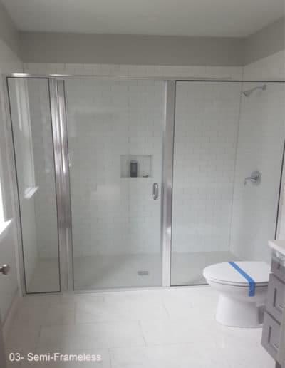 Semi frameless glass shower enclosure