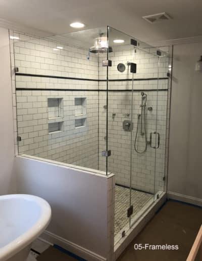 Big frameless glass shower