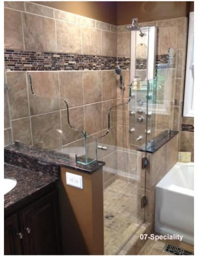 custom cut glass shower enclosure by Century Glass