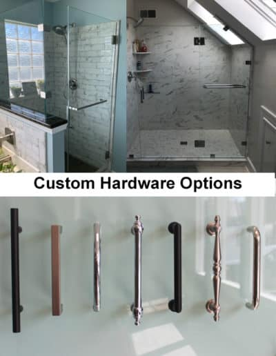custom hardware options for shower doors by Century Glass