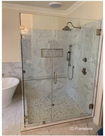 Frameless clip set shower