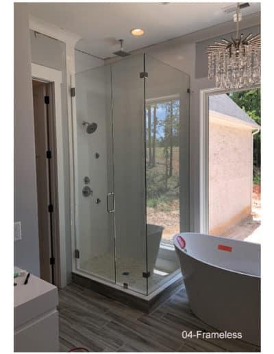 Frameless glass shower stall