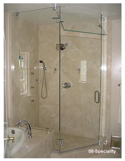 frameless glass shower with moving header vent