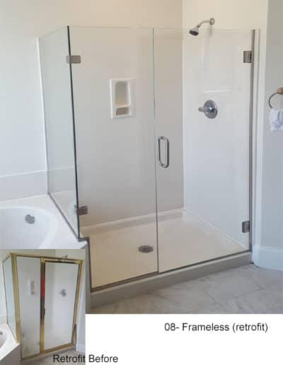 Frameless shower retrofit