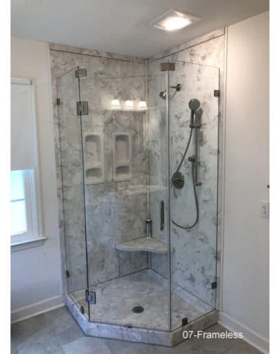 Glass frameless shower corner unit