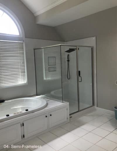 Semi frameless shower next to tub