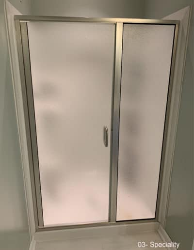 Semi frameless shower with frost glass