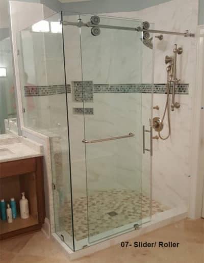 Custom glass sliding shower door